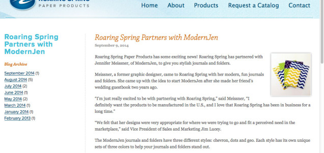 Roaring Spring Partners with ModernJen